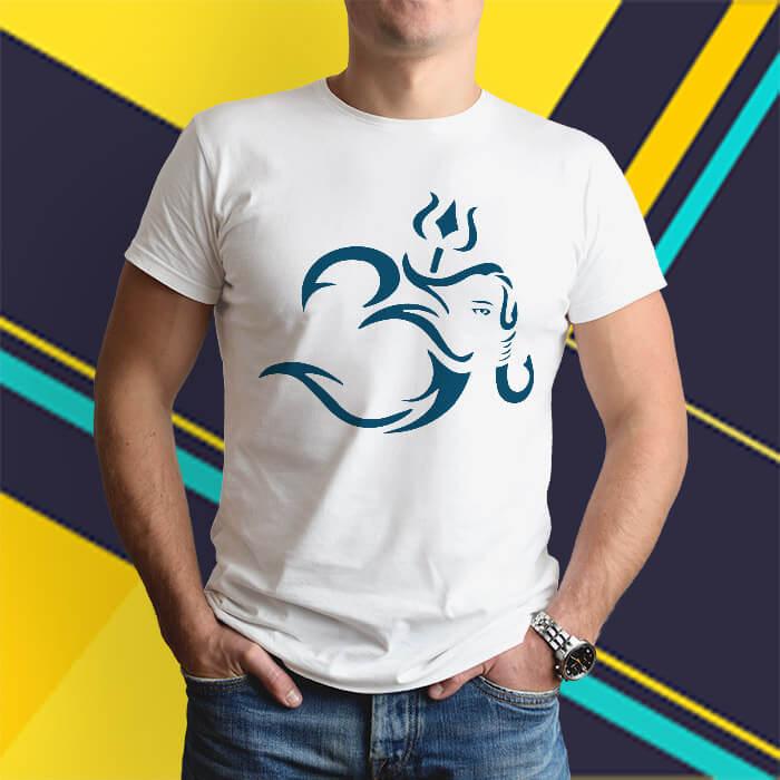 Stylish OM with Lord Ganesh round neck t shirt for men