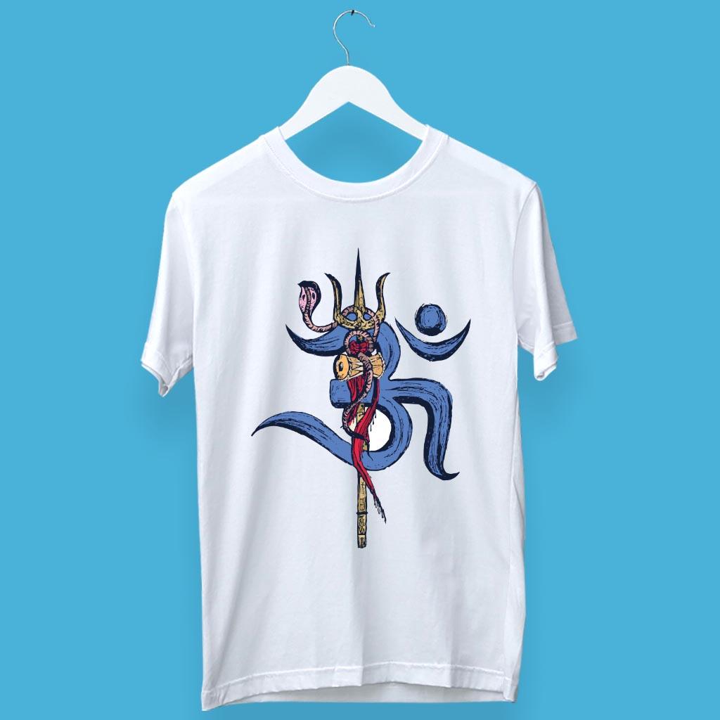 Mahadev with Trishul Damru Round Neck T Shirt For Men