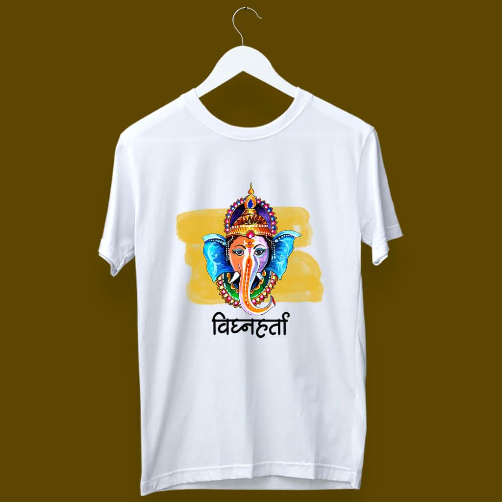 Vighnaharta Ganesh painting white t shirt
