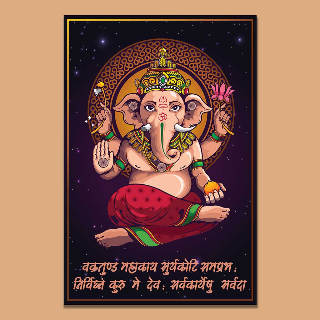 ganesha portrait with mantra wall painting home decor