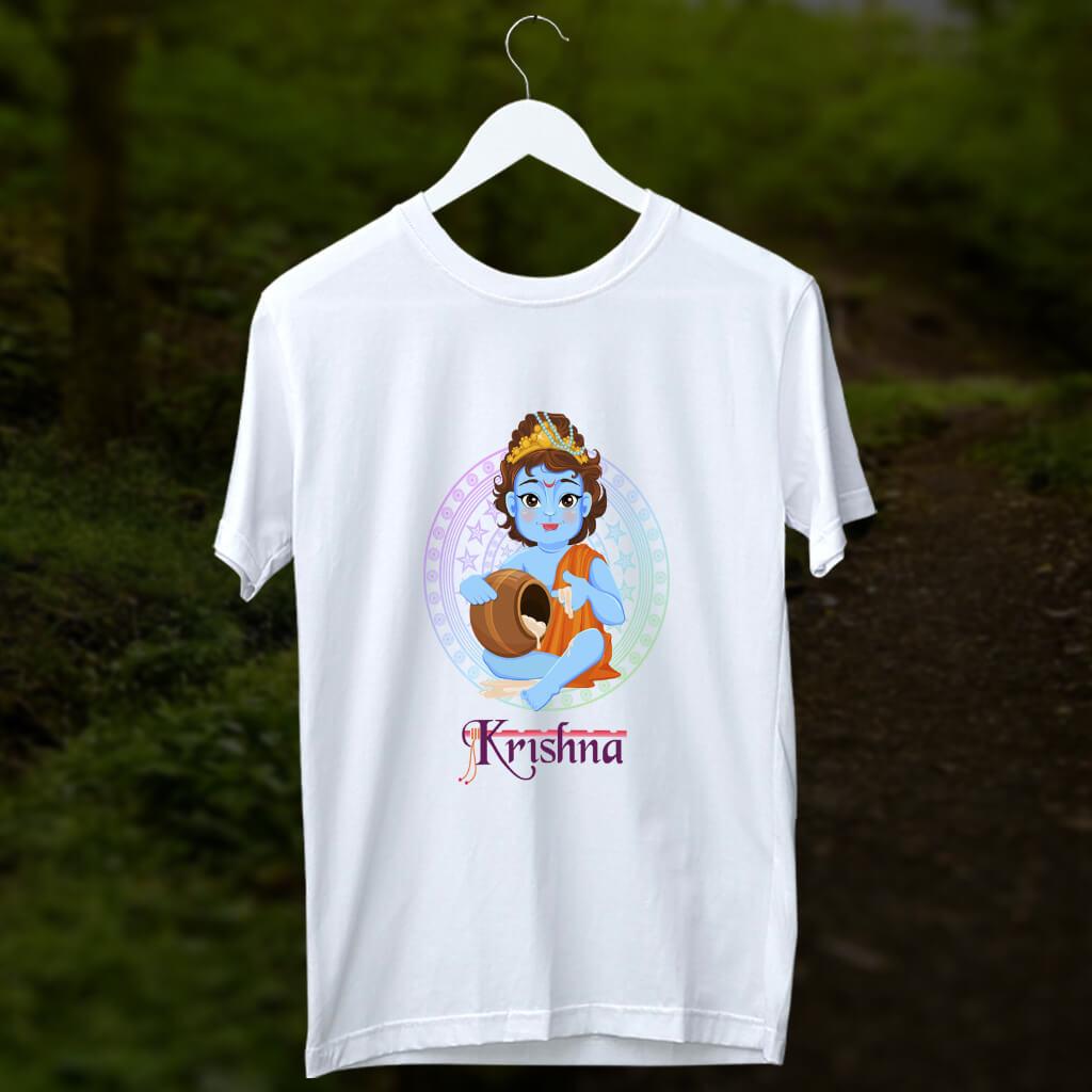 Little Krishna cartoon style image printed white t shirt