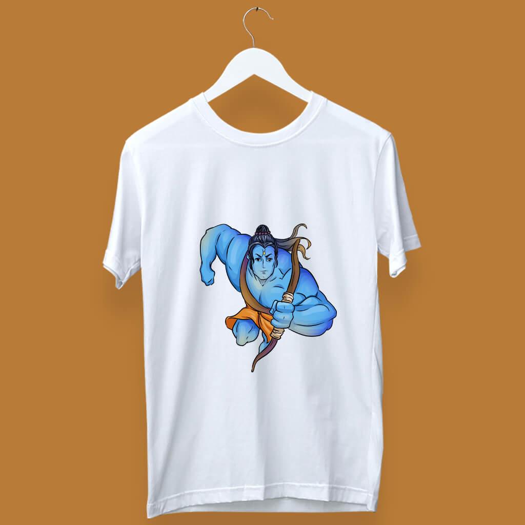 Upward Moving Ram Best Sketch Printed T Shirt For Men