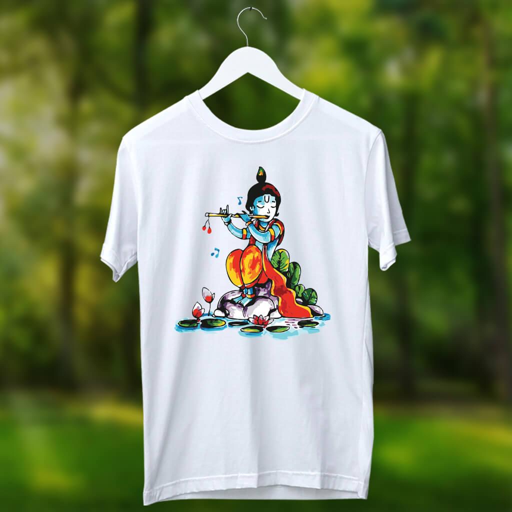 Krishna with flute painting round neck white t shirt