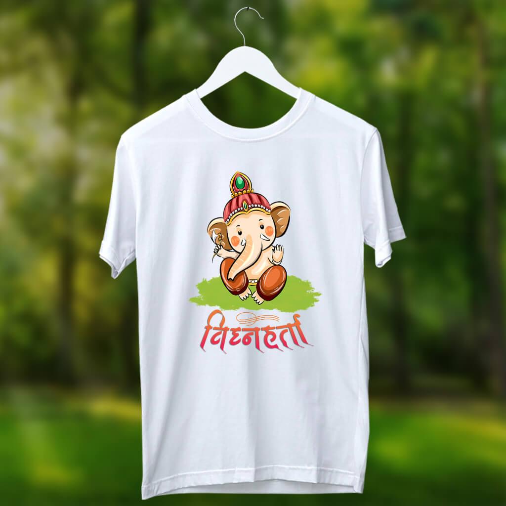 Little vighnaharta ganesh printed white t shirt