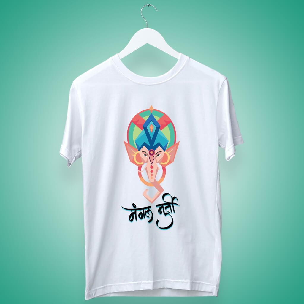 Mangal murti ganesh painting printed white t shirt