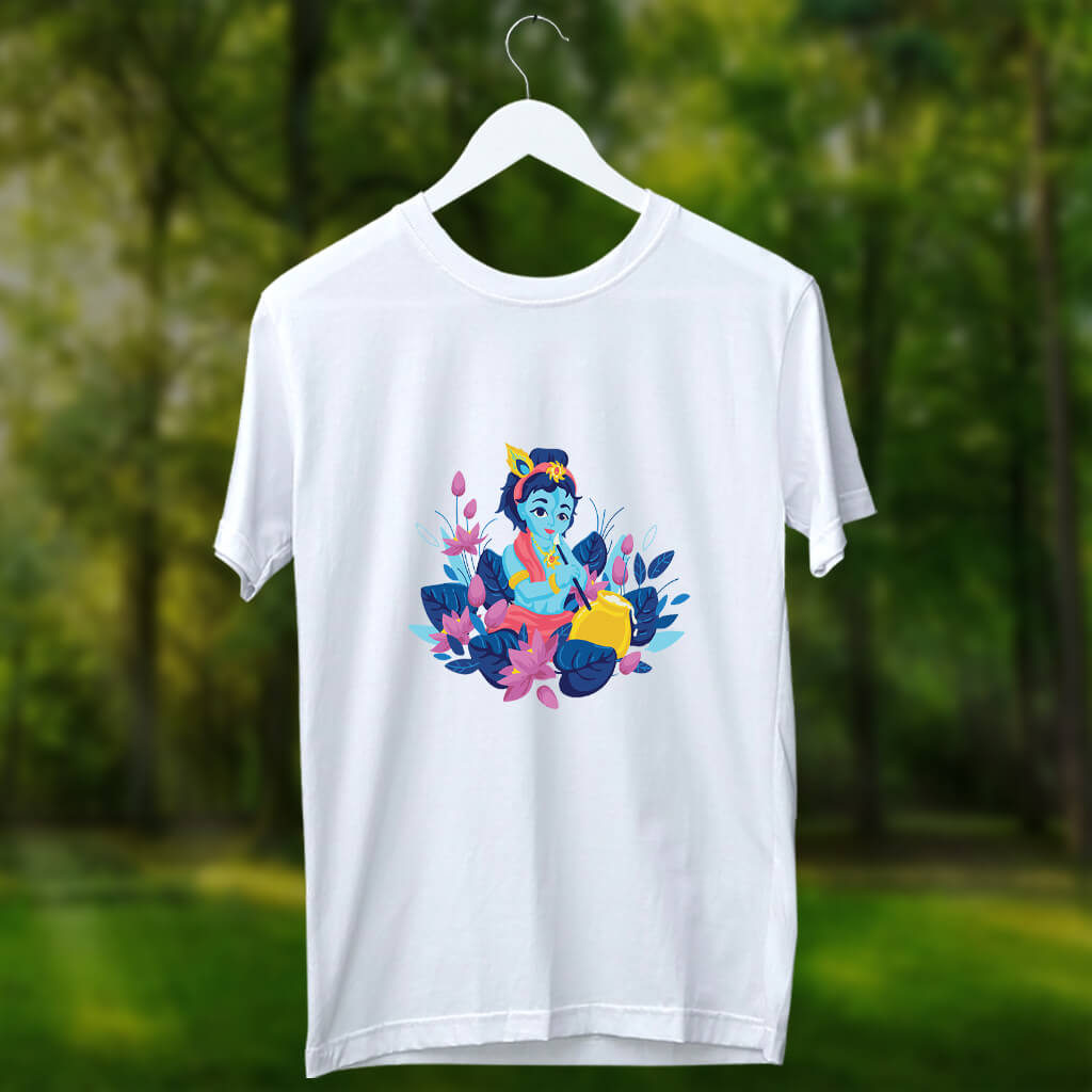 Krishna with peacock feather painting printed t shirt for men