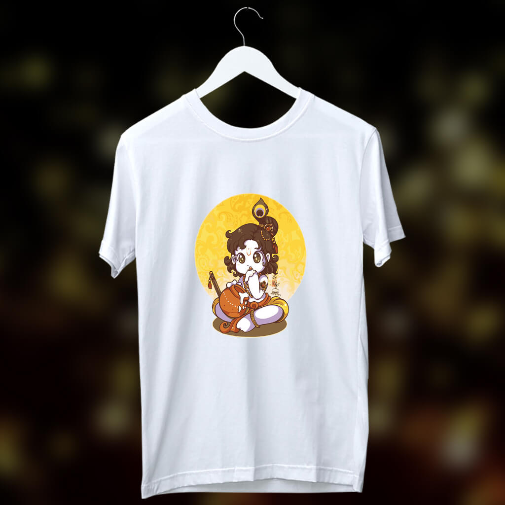 Krishna with makhan image printed white t-shirt for men