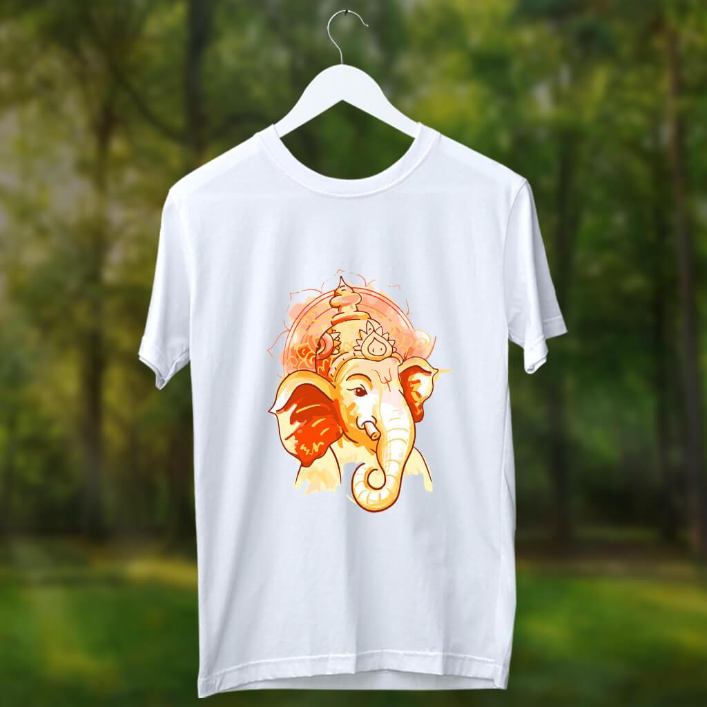 Shree ganesh best image printed white t shirt online