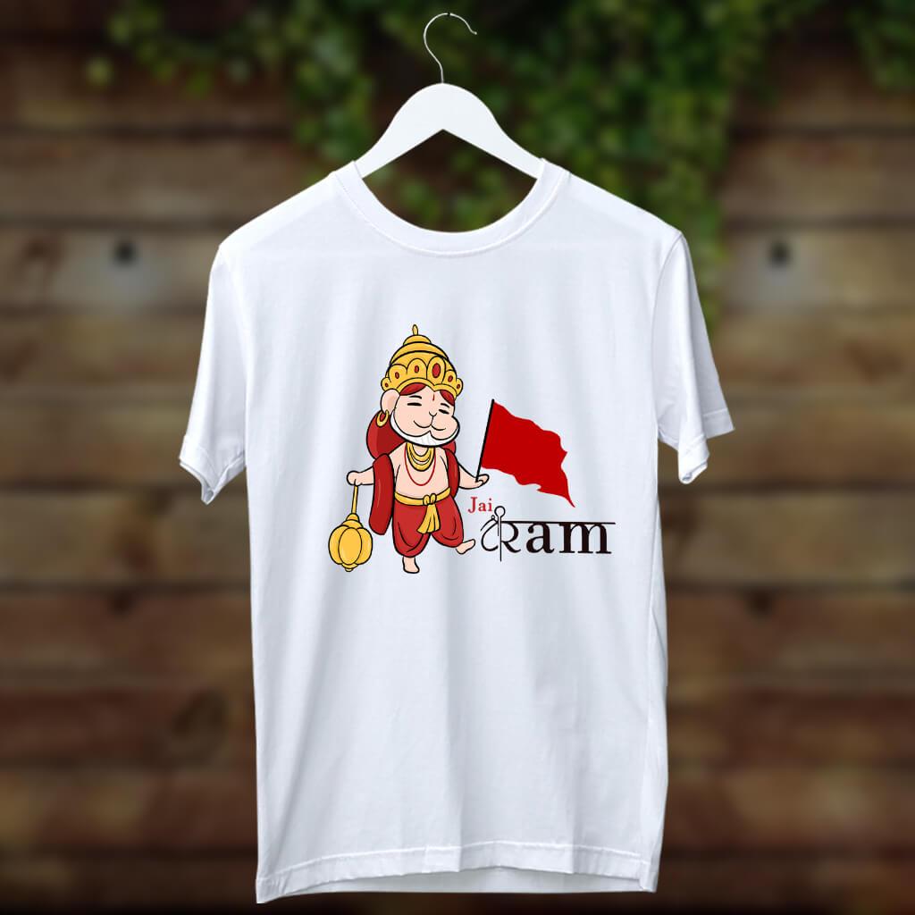 Jay Shree Ram With Cute Hanuman Printed White T Shirt Online