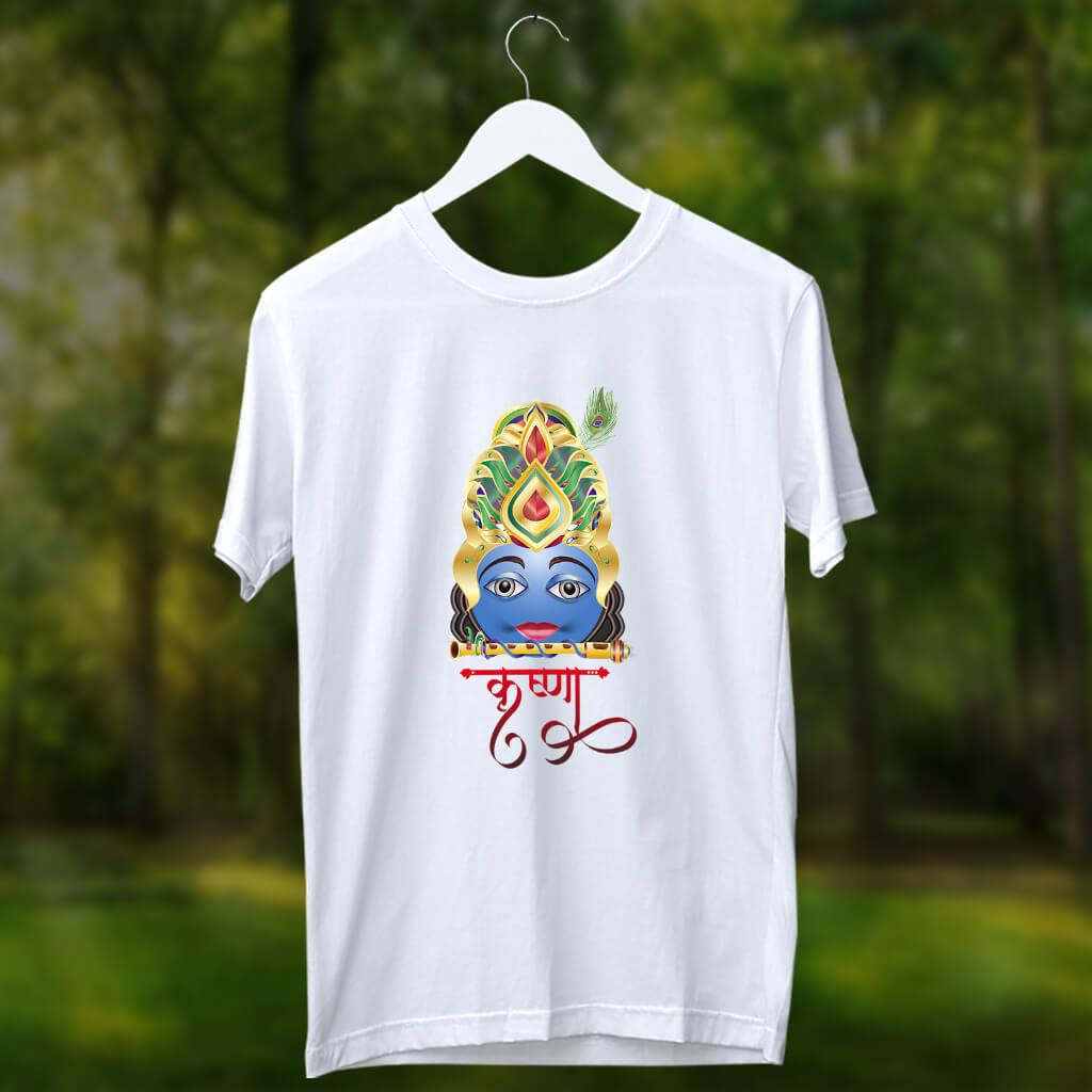 Lord Krishna portrait painting printed round neck t shirt