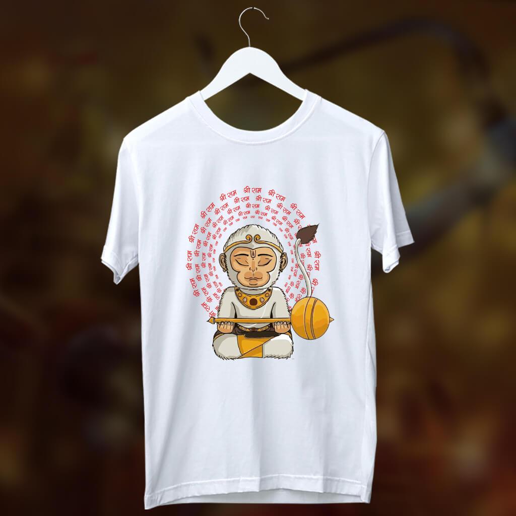 Hanuman portrait with shree ram Mantra printed round neck t shirt
