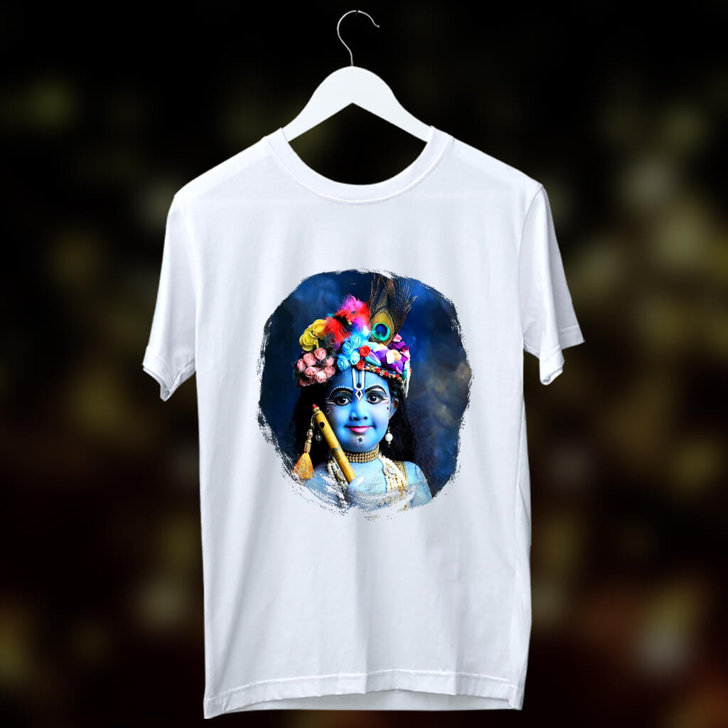 Bal Gopal Krishna Bhagwan Printed Round Neck White T Shirt