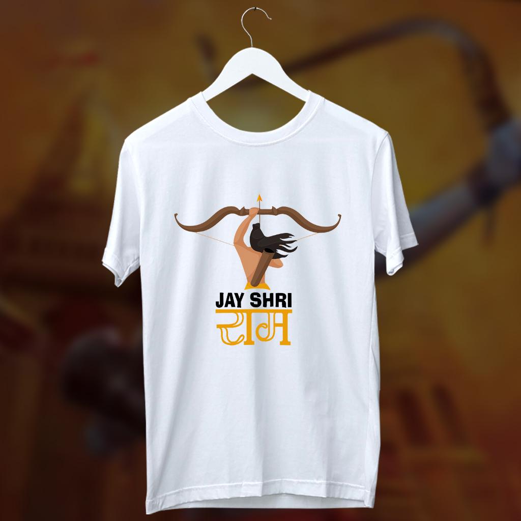Jai Shree Ram Best Design With Lord Ram Printed Round Neck White T Shirt