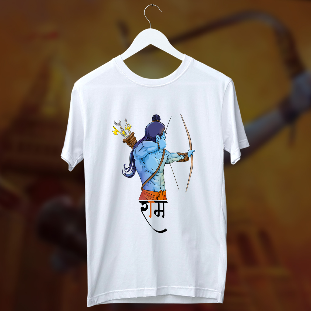 God Ram Side Scene Printed Round Neck White T Shirt
