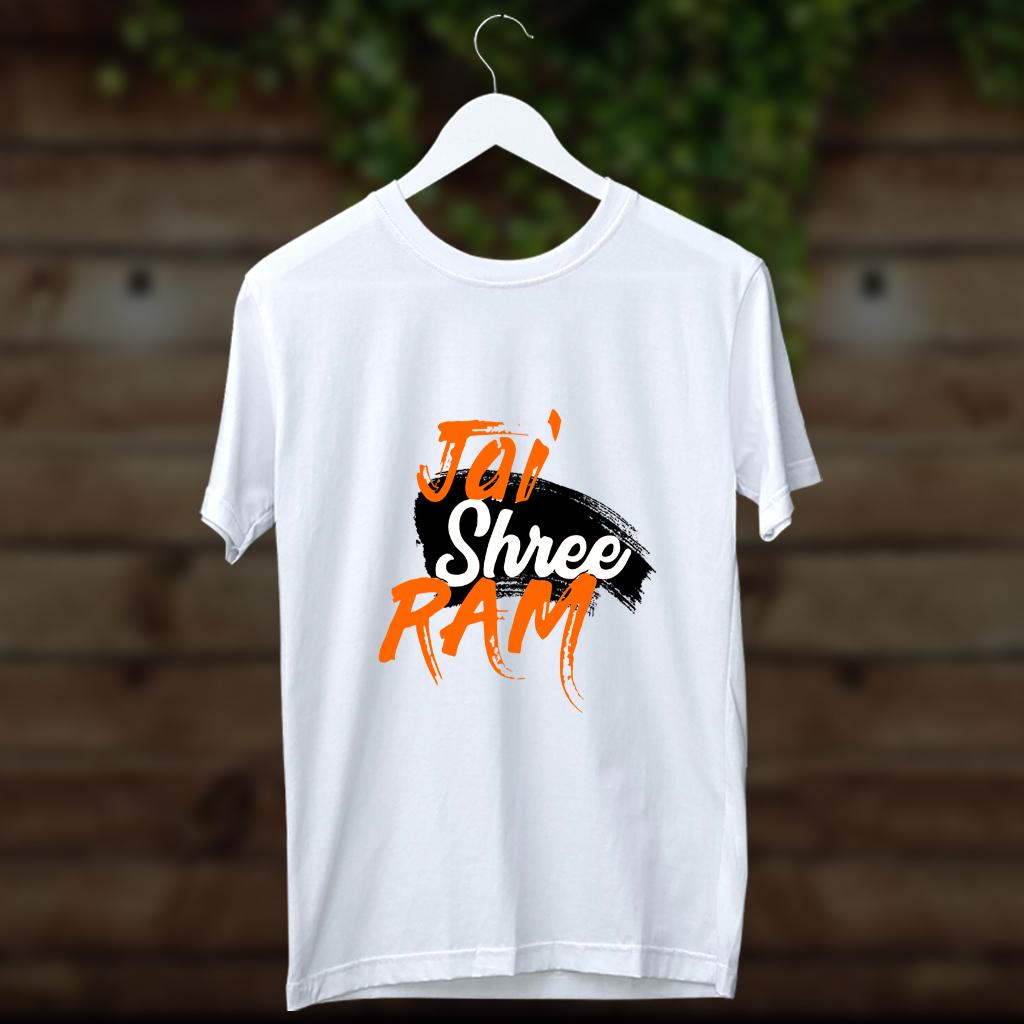 Jai Shree Ram Beautiful Design Printed Round Neck White T Shirt