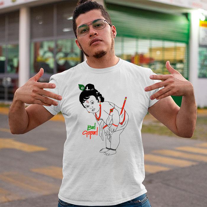 Bal Gopal sketch painting neck t shirt online