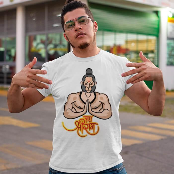 Best design hanuman ji printed white round neck t shirt