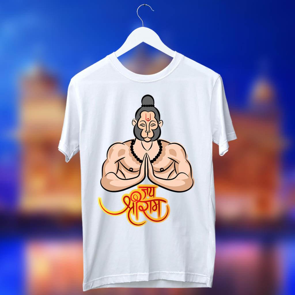 Best Design Hanuman Ji Printed White T Shirt
