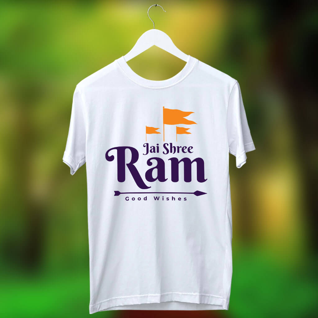 Bhagwa Dhari Flag With Jay Shri Ram Printed White T Shirt