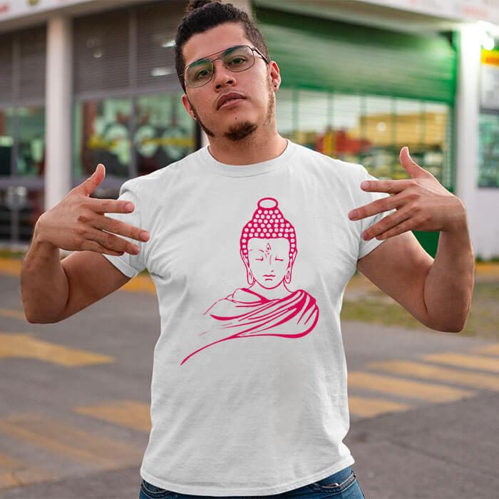 Buddha portrait printed round neck t-shirt