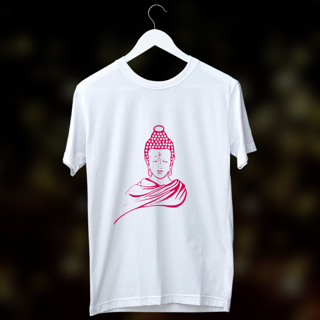 Buddha Portrait Printed Round Neck White T Shirt
