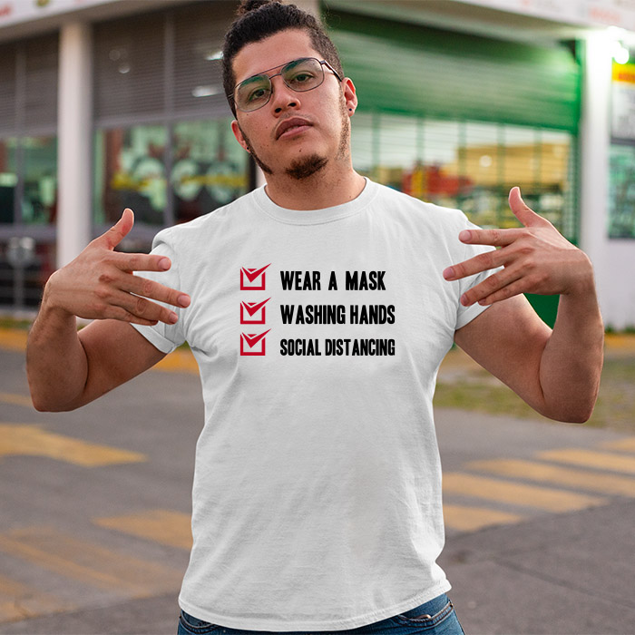 Covid-19 awareness printed round neck t shirt for men