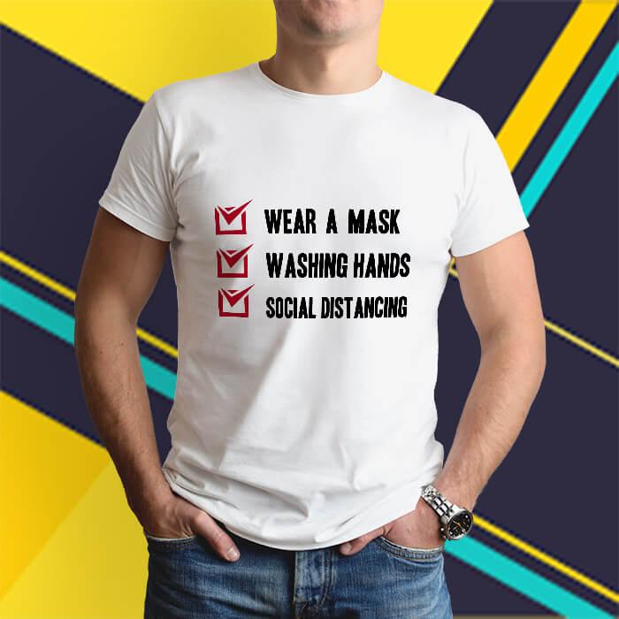 Covid-19 awareness printed white round neck t shirt