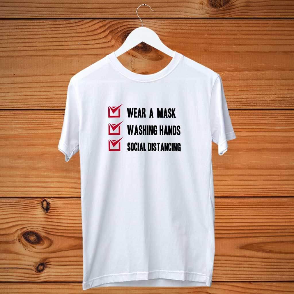Covid-19 Awareness Printed White T Shirt