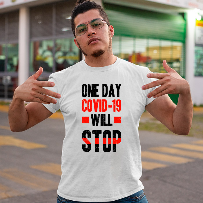 Covid-19 will stop quotes printed round neck t shirt for men