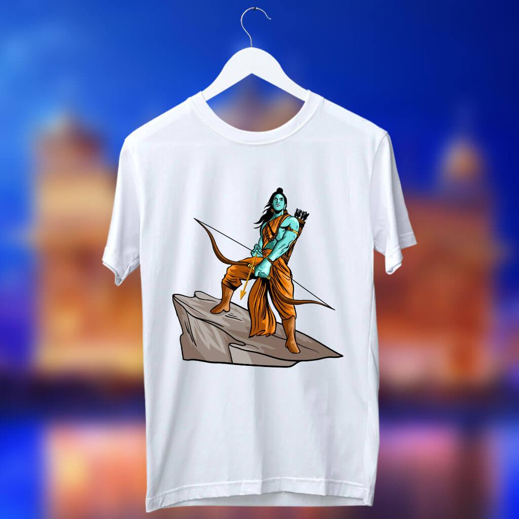 Dhanurdhari Ram Sketch Printed T Shirt For Men