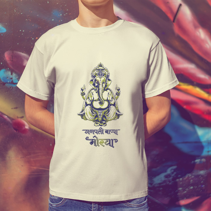 Ganpati bappa morya portrait painting printed round neck t shirt online