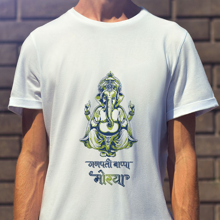 Ganpati bappa morya portrait painting printed white round neck t shirt