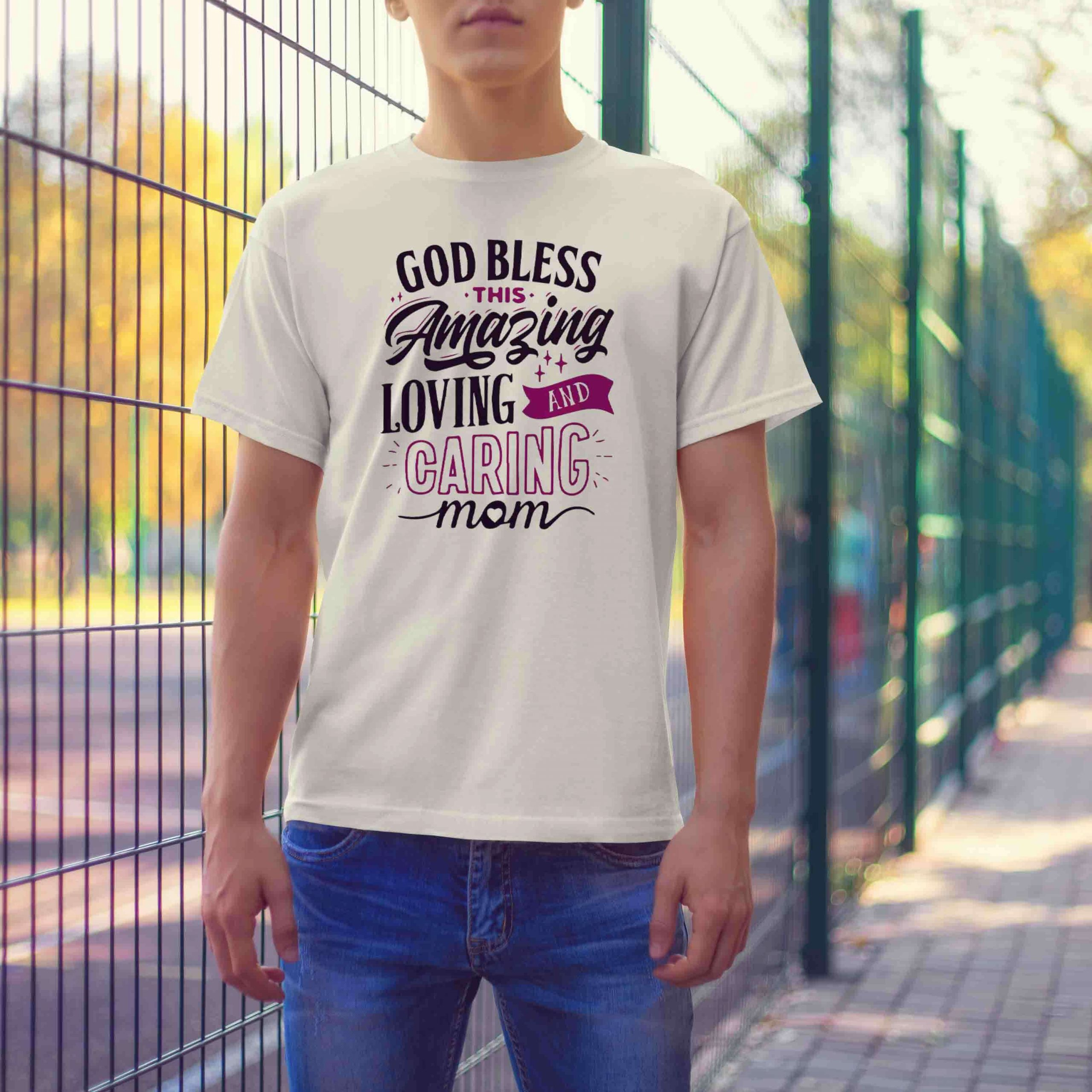 God bless quotes printed half sleeve t shirt for men