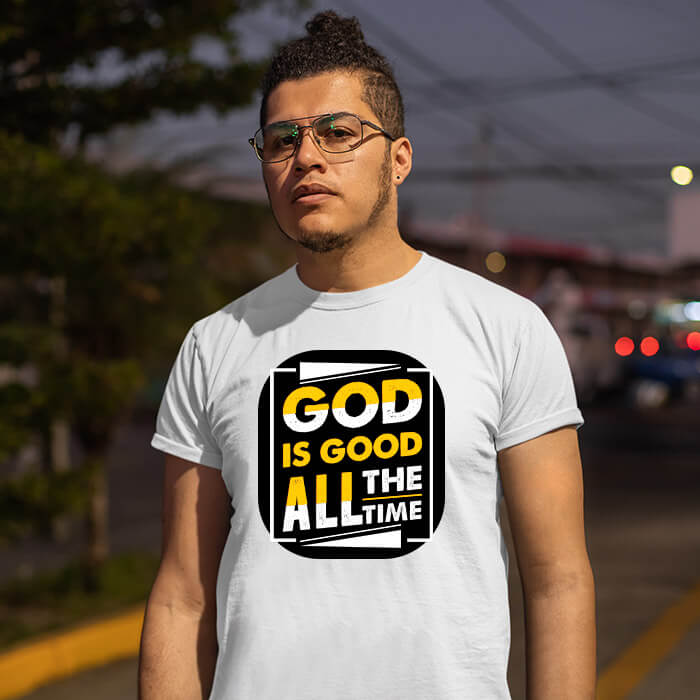 God is good all the time quotes printed white round neck t shirt
