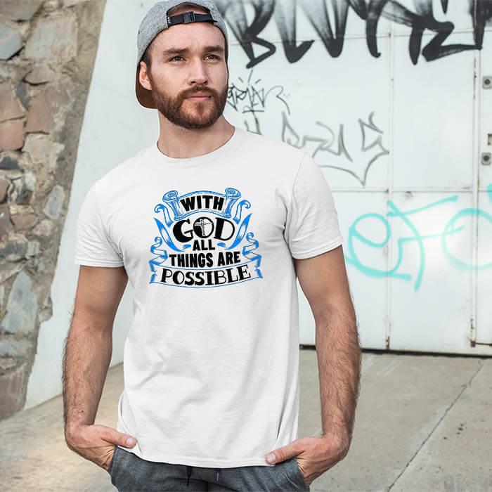 God motivational quotes printed white round neck t shirt