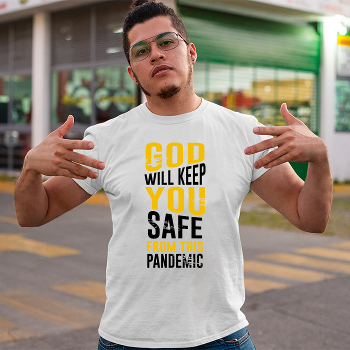 God quotes printed round neck t shirt for men