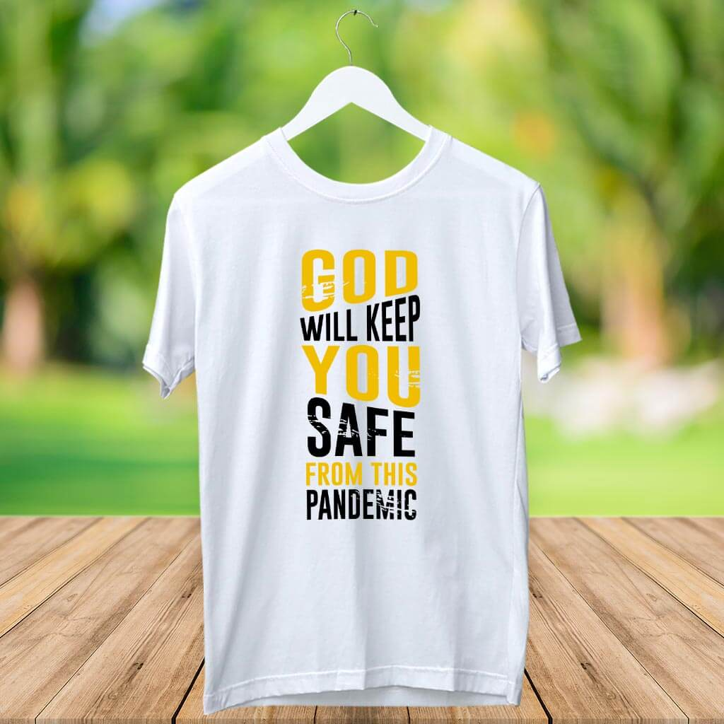 God Quotes Printed White T Shirt
