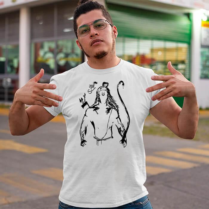 God ram black sketch white plain t shirt