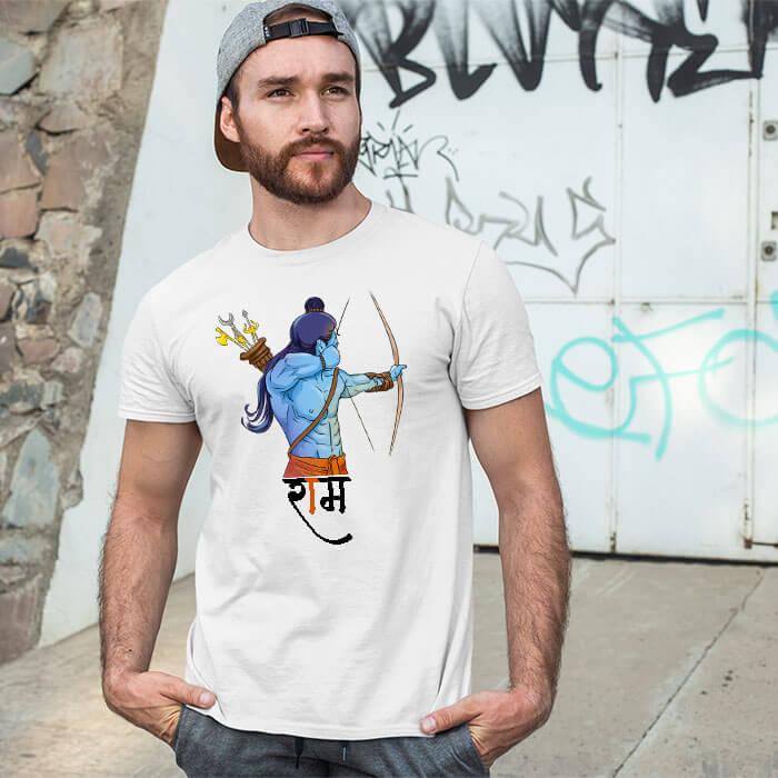 God ram side scene printed round neck t shirt for men