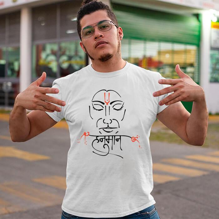 Hanuman line art printed round neck t-shirt