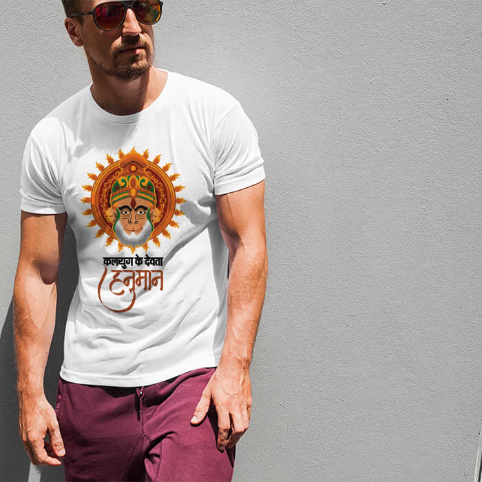 Hanuman photos with quotes printed white color t shirt