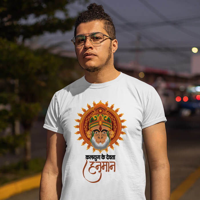 Hanuman photos with quotes printed white t shirt for men