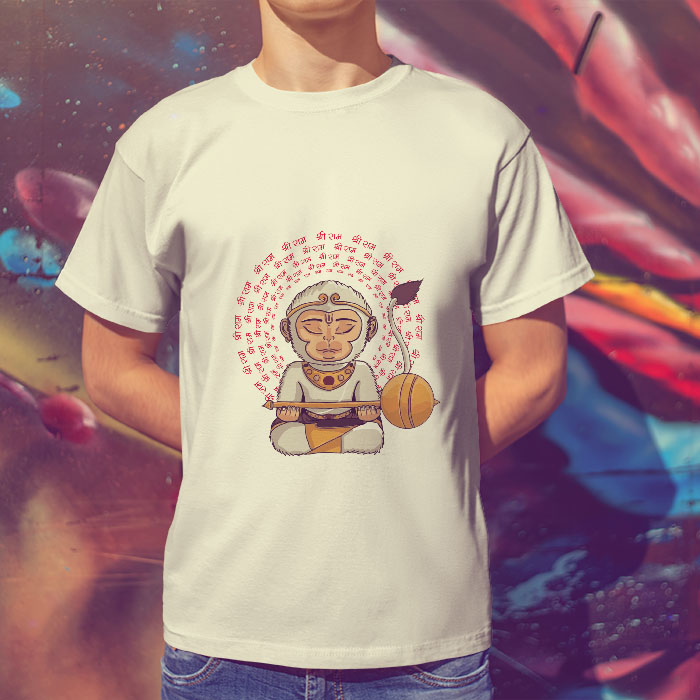 Hanuman portrait with shree ram Mantra printed round neck t shirt online
