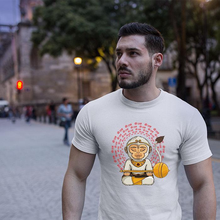Hanuman portrait with shree ram Mantra printed round neck white t shirt