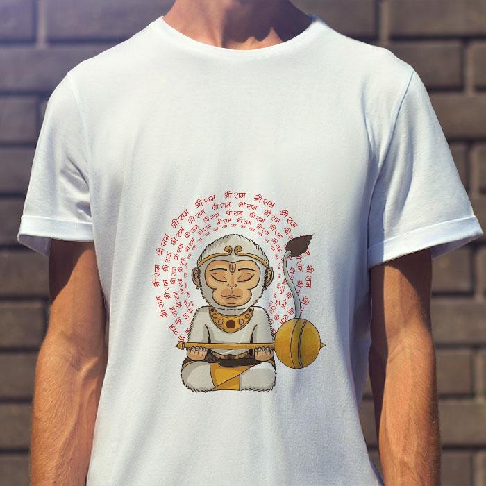 Hanuman portrait with shree ram Mantra printed white round neck t shirt