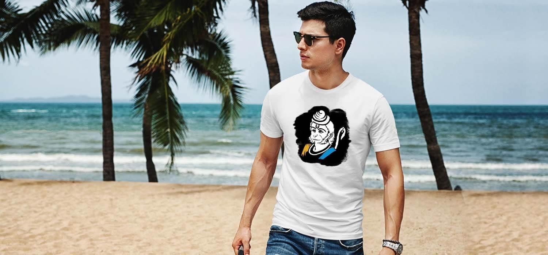 Hanuman sketch with background image printed best t shirt for men