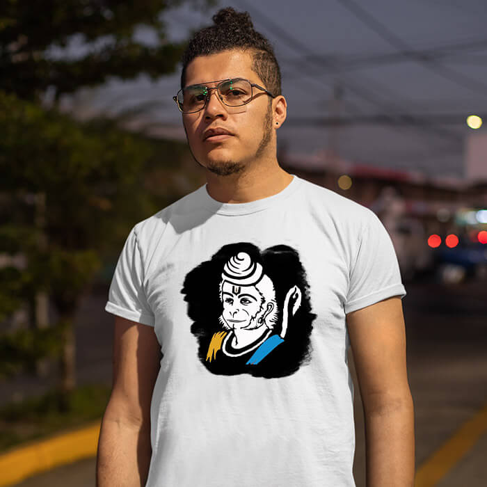 Hanuman sketch with background image printed half sleeve t shirt for men