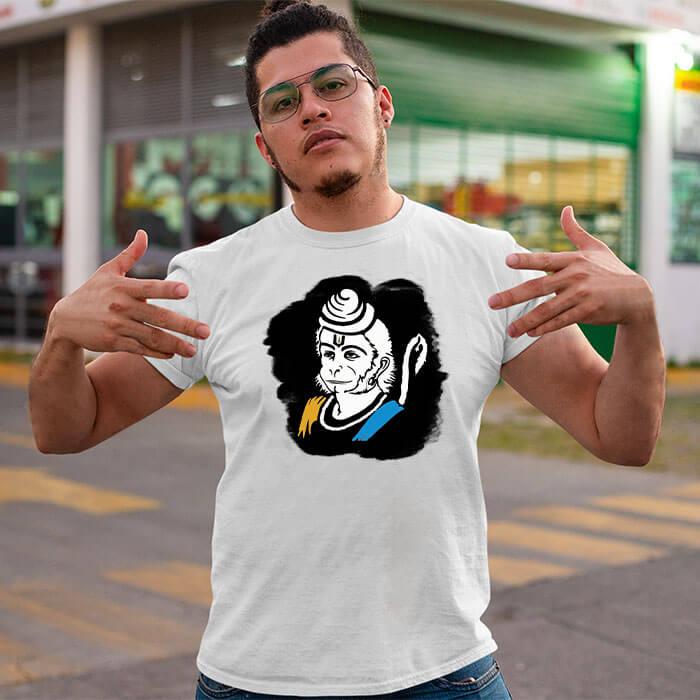 Hanuman sketch with background image printed long t shirt for men