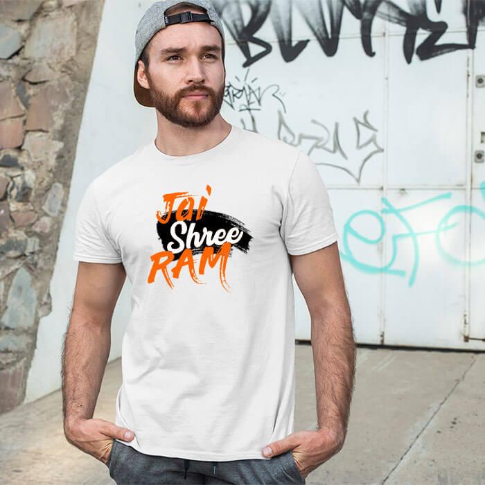 Jai shree ram butiful design printed round neck t shirt for men