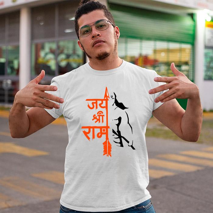 Jay Shree Ram with Hanuman sketch half sleeve t shirt for men